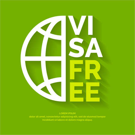 Vector modern poster free visa. Illustration in simple line style on a green background with globe image Illustration