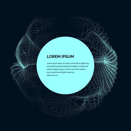 暗いバック グラウンドに青い色の粒子の変形の円の形をしたモダンなベクトル イラスト。あなたのデザイン テンプレートとして良い