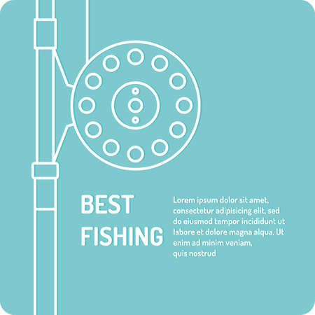 Modern vector illustration of the best fishing in linear style on a blue background with reel and spinning reel.