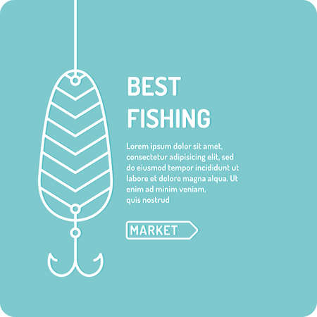 Modern vector illustration of the best fishing in linear style on a blue background with spoon.