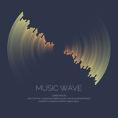 Poster of the sound wave. Vector illustration on dark background Illustration