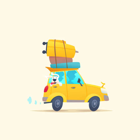 Modern poster with a summer car for travel with Luggage on the roof. Vector illustration in cartoon style on bright background Vektoros illusztráció