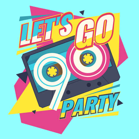 Audio cassette on red background. Lets go retro party 90s. Vector illustration. Иллюстрация