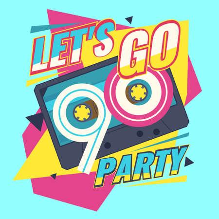 Audio cassette on red background. Let's go retro party 90's. Vector illustration. Vettoriali