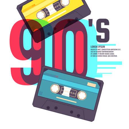 Audio cassette on red background. Retro music 90s. Vector illustration.