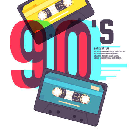 Audio cassette on red background. Retro music 90s. Vector illustration.