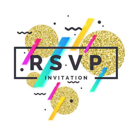 RSVP. Invitation template for the event. Vector illustration Illustration