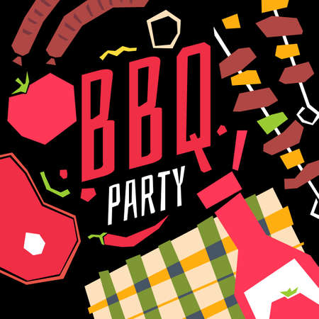 roasted: Modern poster BBQ party with a checkered tablecloth, barbecue, vegetables and ketchup. Vector illustration in flat cartoon style