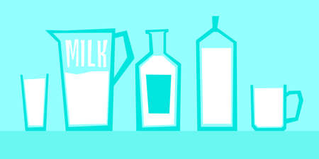 sour cream: Vector illustration of milk in different glass containers