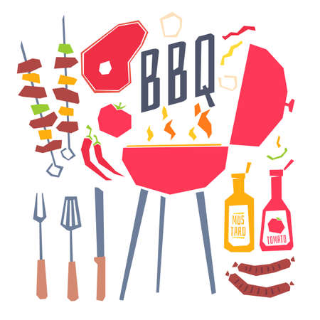 Modern poster with a barbecue grill, barbecue, vegetables and cutlery. Vector illustration in flat cartoon style