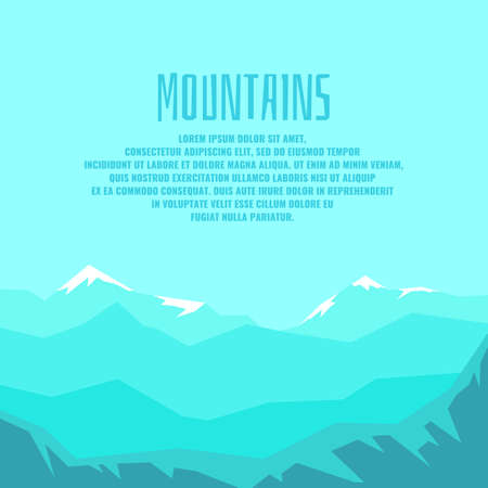Modern poster with mountain winter landscape and sample text for your design.