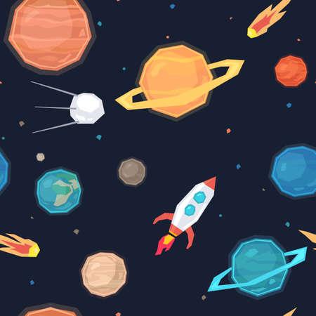 meteorites: Seamless pattern with space, planets, satellites, meteorites and missiles. Illustration
