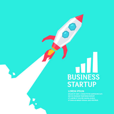 Vector illustration for business startup with a soaring rocket. A poster in a colorful, flat and minimalistic style