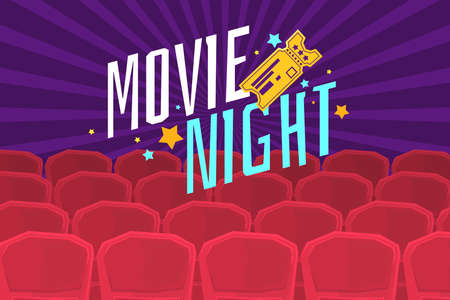 Colorful poster movie night with cinema, tickets and chairs. Vector illustration in cartoon style Vector Illustration