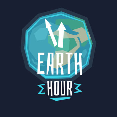 Vector illustration of earth hour with the lamp and clock in cartoon style on dark background.