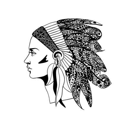 Il profilo di una ragazza in tradizionale copricapo di un capo indiano con piume decorative. Illustrazione vettoriale Vettoriali