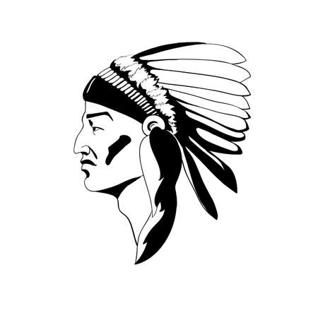 A stylized profile of the Indian chief in traditional ceremonial headdress. Vector illustration of simple silhouette style