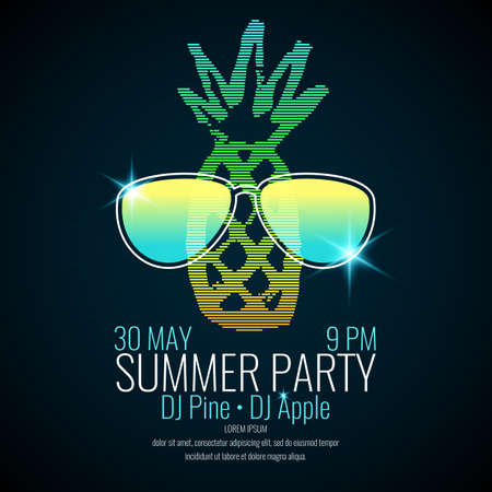 Modern poster summer party with a pineapple wearing sunglasses on a dark background.