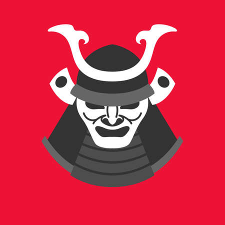 ronin: Vector illustration with the armor of a samurai in minimalistic flat style on red background