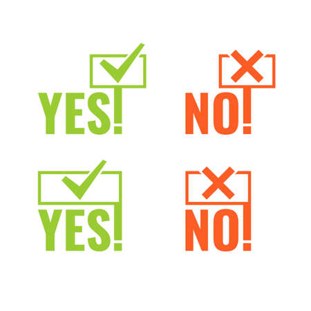 answer: Set with banners of voting Yes and No in hands in minimalistic flat style