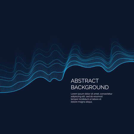 抽象的な背景色のダイナミックな波をベクトル線と粒子。イラスト デザインに適した  イラスト・ベクター素材