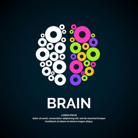 Vector logo brain color silhouette on a dark background.