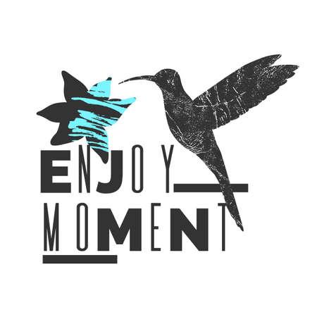Enjoy moment. Stylish poster, trendy graphics. Vector illustration. Illustration