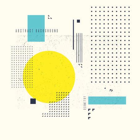 Fond géométrique moderne art abstrait avec style plat et minimaliste. Affiche de vecteur avec des éléments pour le design Vecteurs
