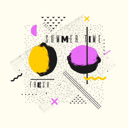 Summer time stylish poster, trendy graphics. Vector illustration