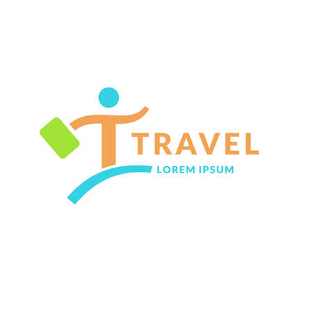companionship: Modern bright logo travel company. The emblem of the man with the suitcase in a hurry. Vector illustration. Illustration