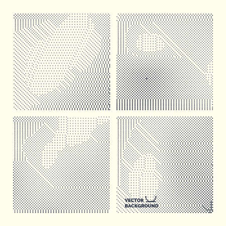vector raster background: Monochrome printing raster. Set abstract vector halftone background. Black and white texture of dots.