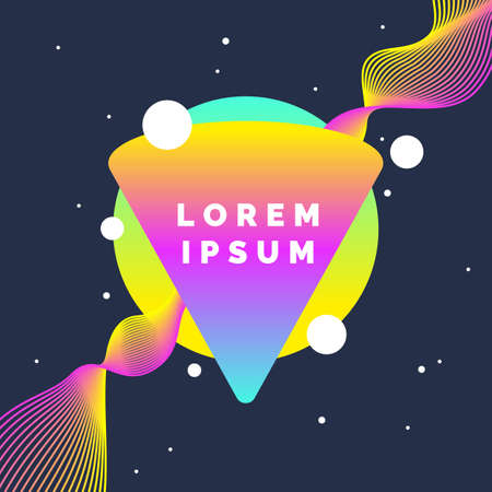 Bright abstract background with a dynamic waves, splashes and triangle on a round in a minimalist style. Vector illustration with a gradient