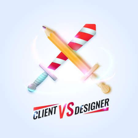 Funny vector illustration of a Client against the Designer with the crossed sword and the pencil. Bright cool poster in a minimalist style on a light background
