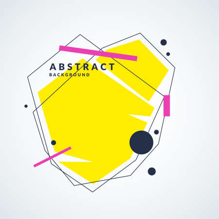 Abstract background with straight lines and geometric objects in minimalistic flat style on a light background. Bright vector illustration Иллюстрация