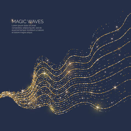 Vector illustration of a magic wave with shining particles of glitter