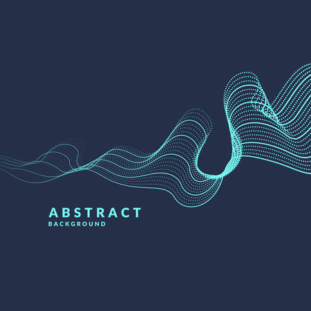 A vector abstract background with a colored dynamic waves, line and particles. Illustration suitable for design. Illustration