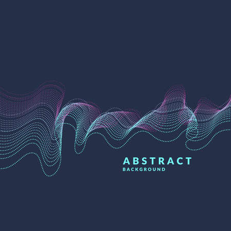 suitable: Vector abstract background with a colored dynamic waves, line and particles. Illustration suitable for design