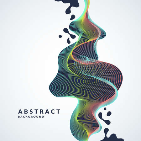 Abstract background with a dynamic waves, lines and splashes in a bright colorful style on light background.