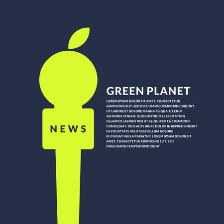 Bright poster with microphone and Apple on the eco theme on a dark background. Vector illustration in flat minimalistic style Çizim