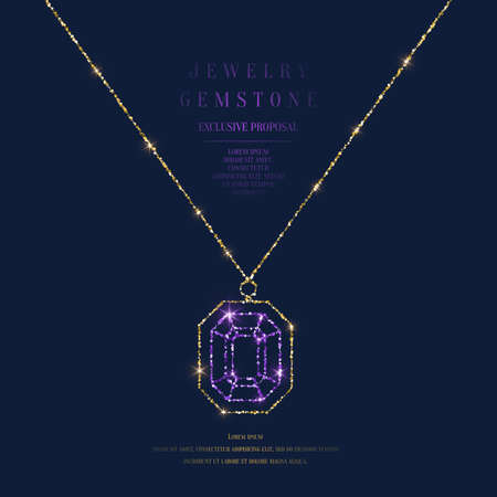 Bright poster with a precious pendant with a chain of gold glitter on a dark background with field for text. Vector illustration in a minimalist style