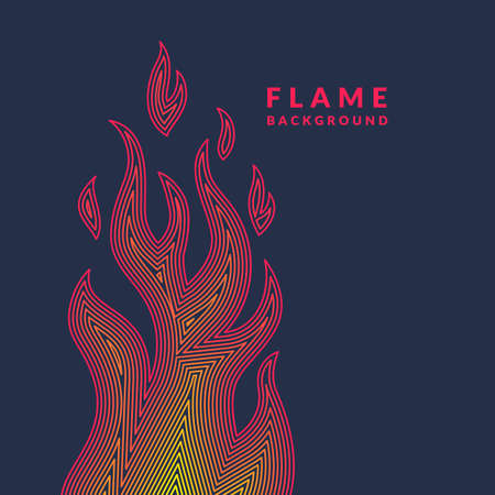ignite: Modern poster with the flame from lines in minimalistic flat style on dark background. Vector illustration can serve as a template for different designs