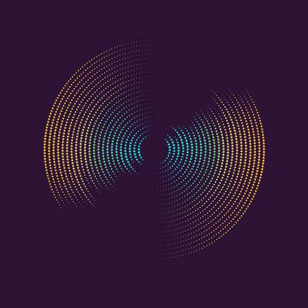 Poster van de geluidsgolf. Vectorillustratiemuziek op donkere achtergrond.
