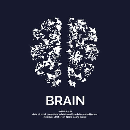 personality development: Vector logo colored silhouette of brain on a dark background.