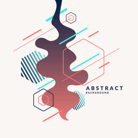 perspectiva lineal: Fondo abstracto de moda. Composición de formas geométricas y salpicaduras. Ilustración del vector Vectores