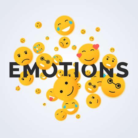 Flat emoticons. Modern vector smiley illustration face Illustration