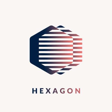 Modern logo geometric hexagon on a white background. vector illustration Çizim