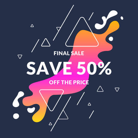 half price: Bright colorful poster sale 50 percent with splashes.