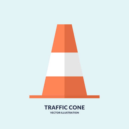 Flat Traffic cone isolated on light background. Vector illustration.