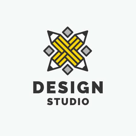 Conceptual logo and label Design studio. Modern vector graphics.