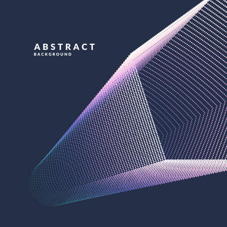 Abstract vector poster geometric objects, lines and bright points in a minimalist style on a dark background